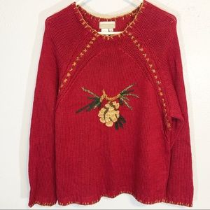 Coldwater Creek red holiday sweater heavy size XL